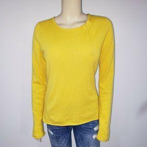Garnet Hill Yellow Cashmere Crewneck Sweater M